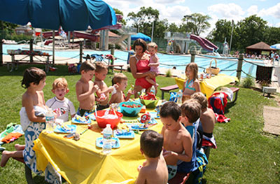 Young children's party, renting the pool lawn at Barrington Park District's Aqualusion pool